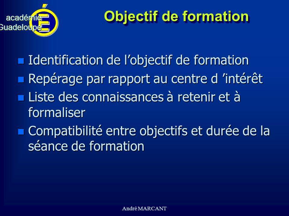 Objectif de formation Identification de l'objectif de formation