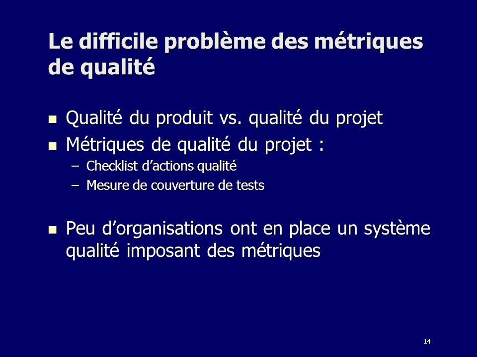 Le difficile problème des métriques de qualité