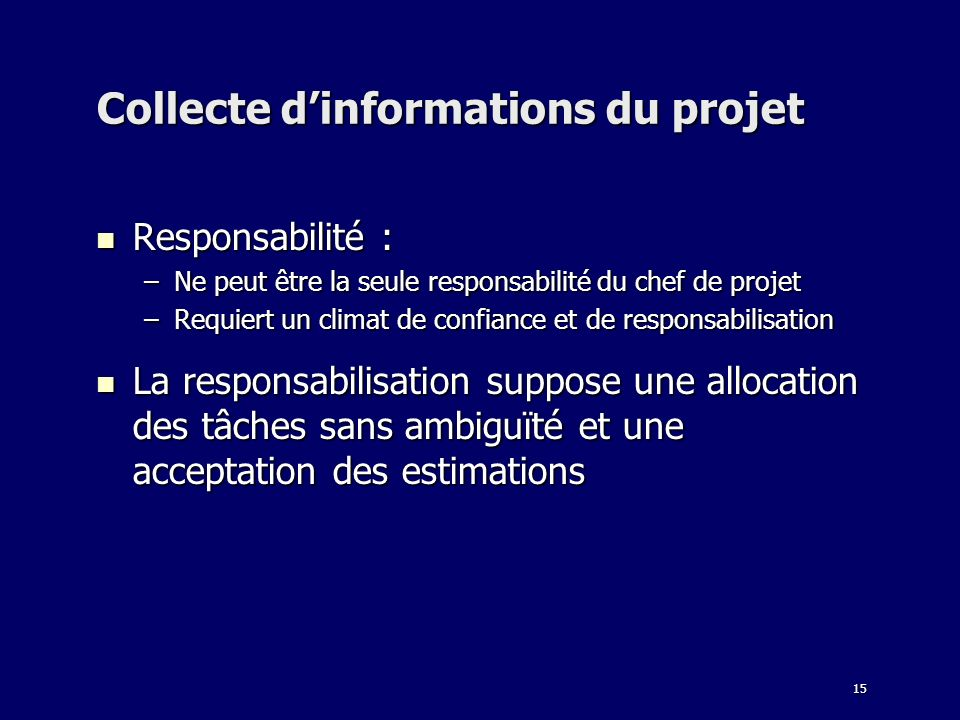 Collecte d'informations du projet