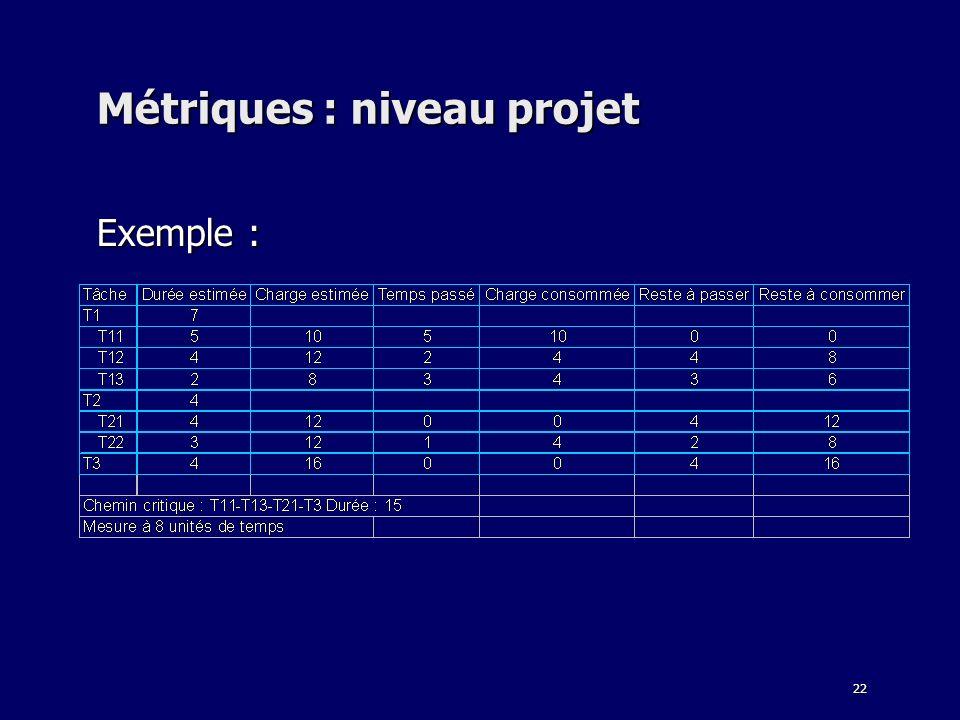 Métriques : niveau projet