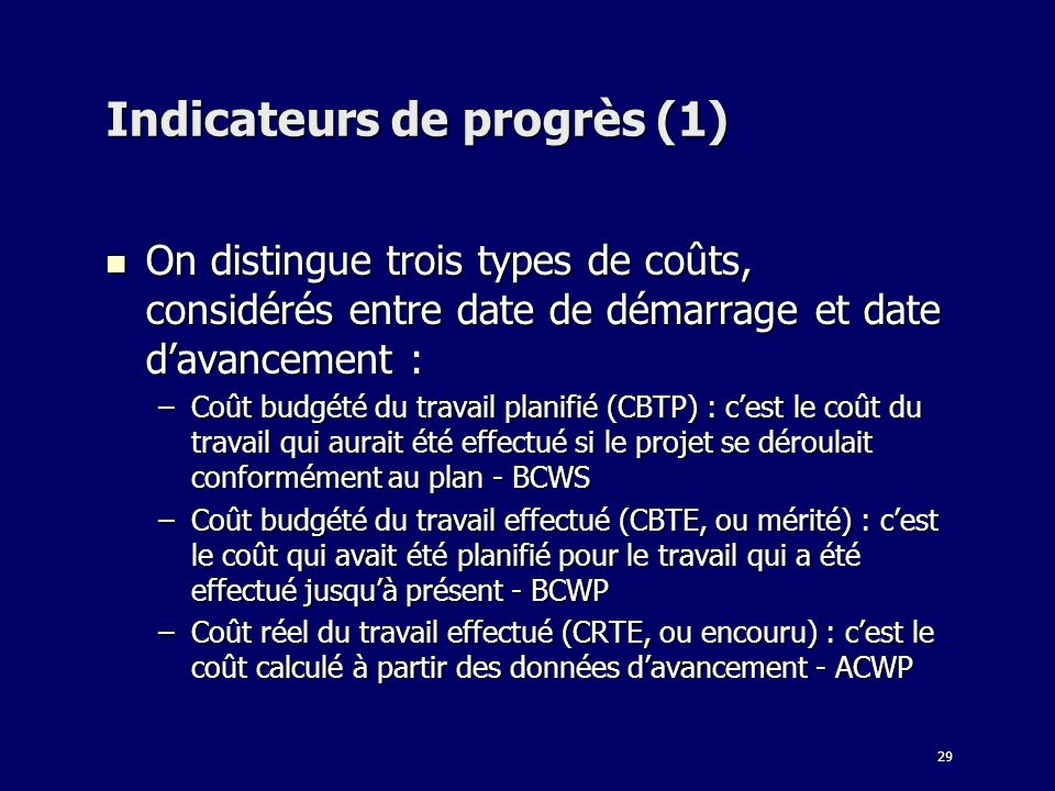Indicateurs de progrès (1)