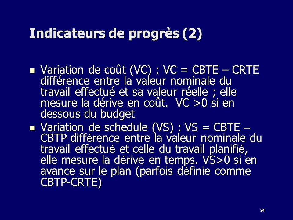 Indicateurs de progrès (2)