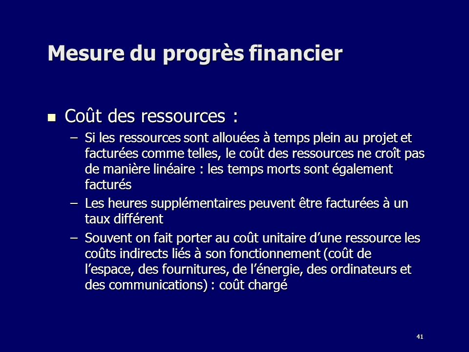 Mesure du progrès financier