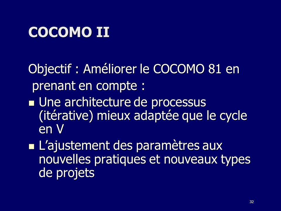 COCOMO II Objectif : Améliorer le COCOMO 81 en prenant en compte :