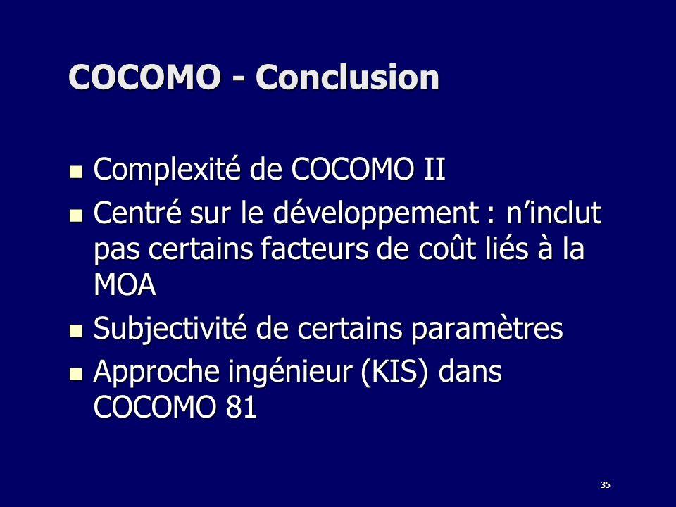 COCOMO - Conclusion Complexité de COCOMO II