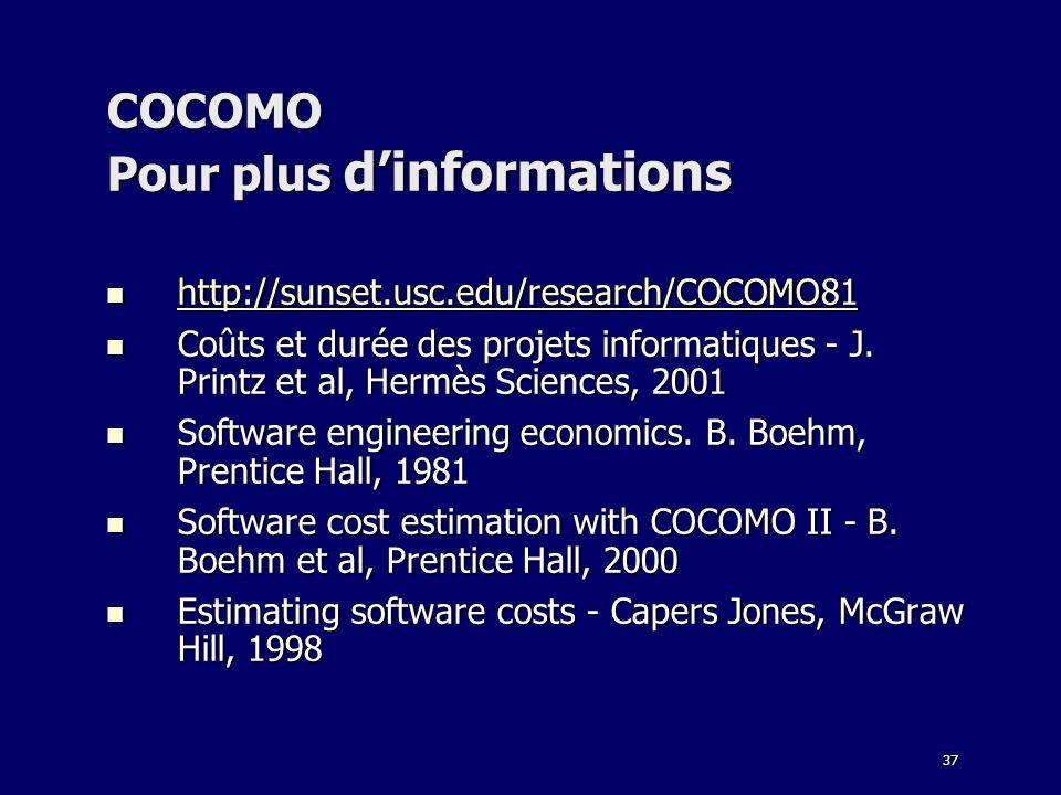 COCOMO Pour plus d'informations