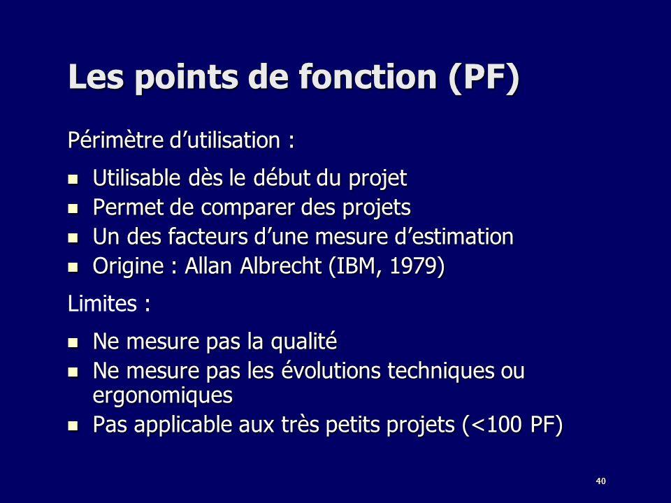 Les points de fonction (PF)