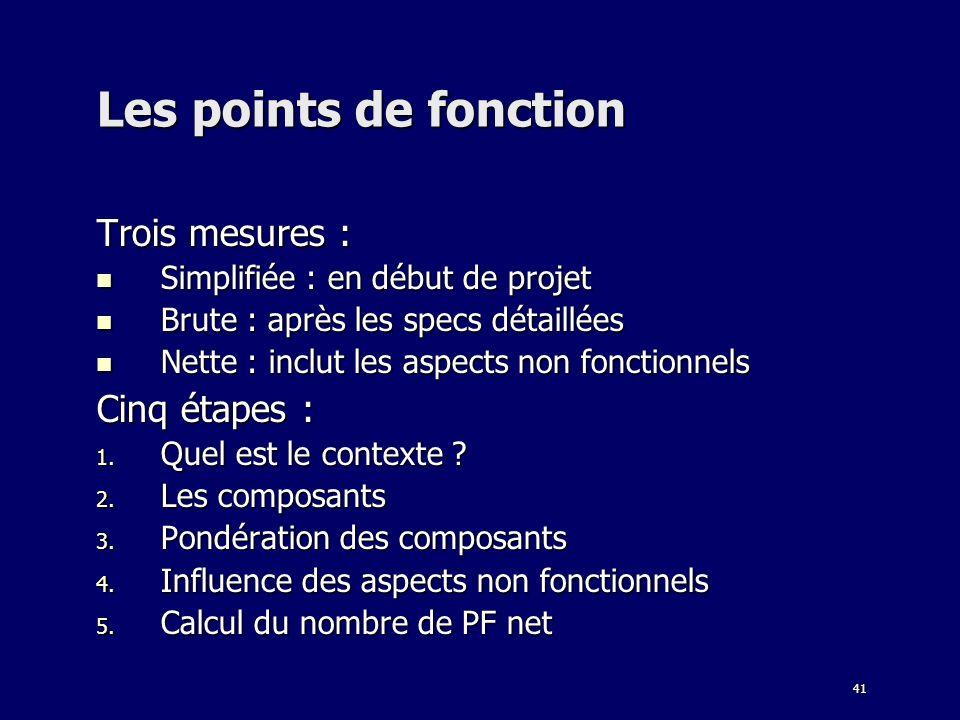 Les points de fonction Trois mesures : Cinq étapes :