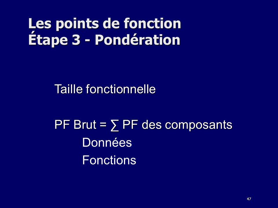 Les points de fonction Étape 3 - Pondération