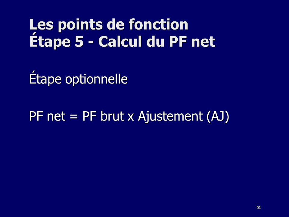 Les points de fonction Étape 5 - Calcul du PF net
