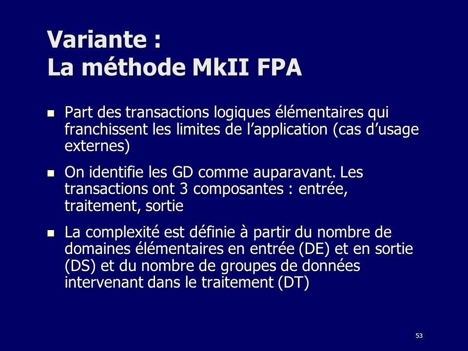 Variante : La méthode MkII FPA