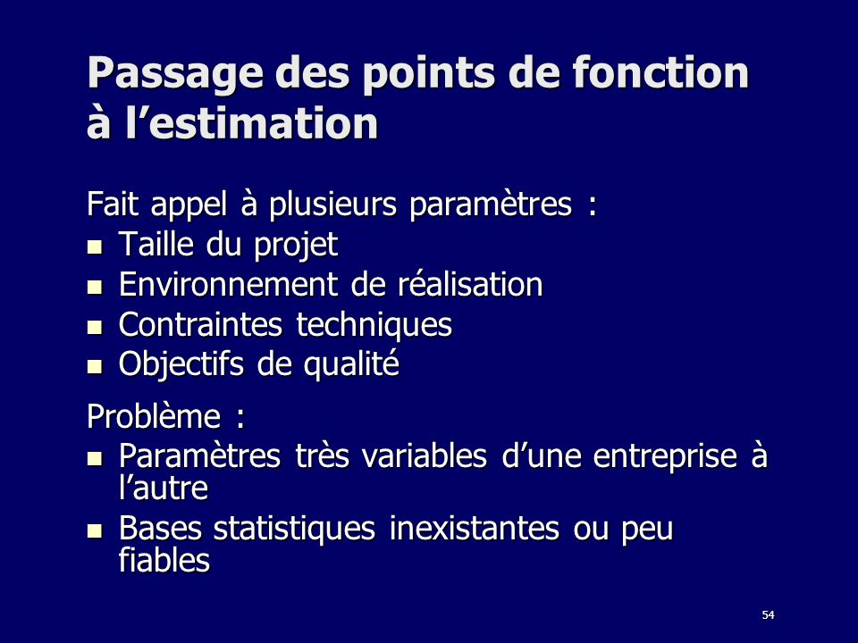 Passage des points de fonction à l'estimation