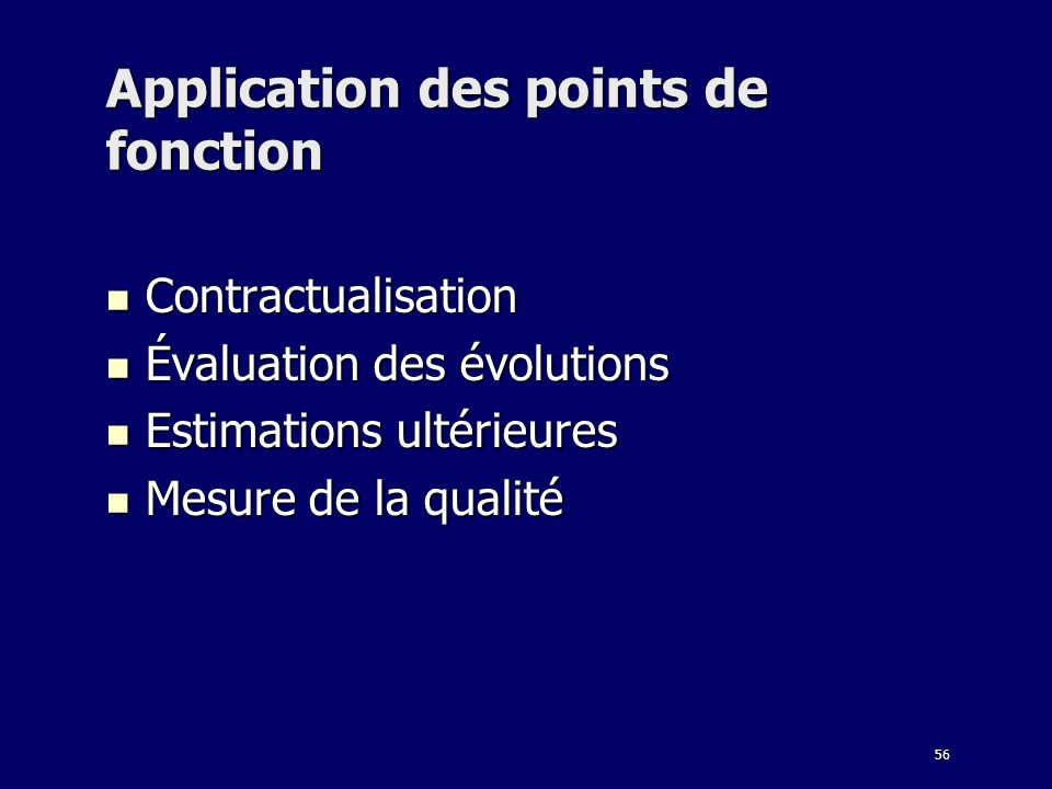 Application des points de fonction