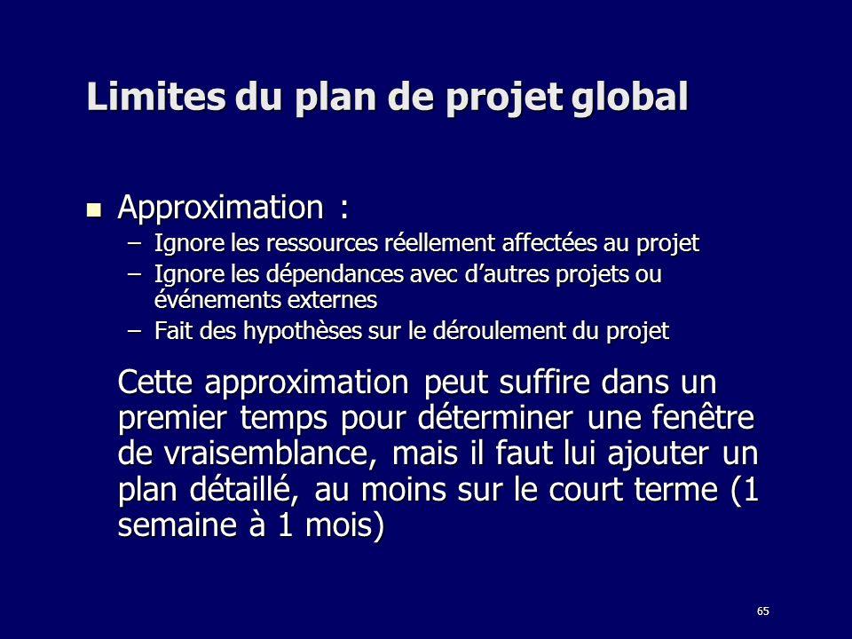 Limites du plan de projet global