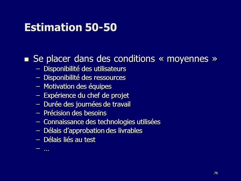 Estimation 50-50 Se placer dans des conditions « moyennes »