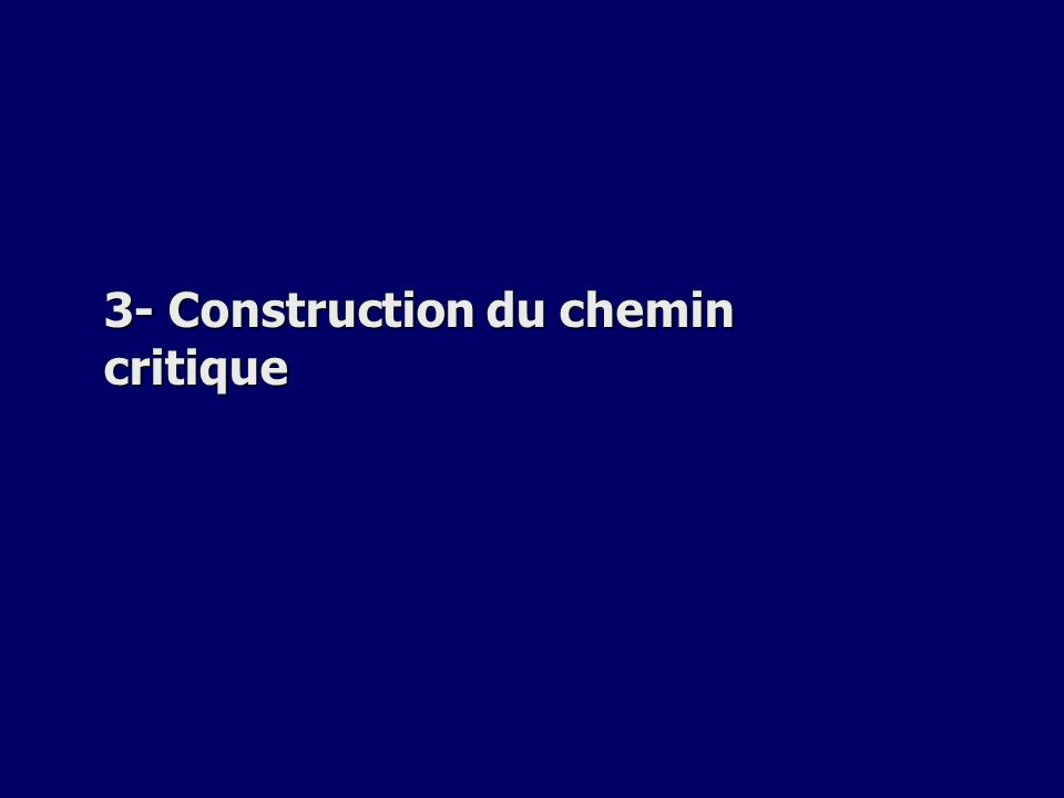 3- Construction du chemin critique