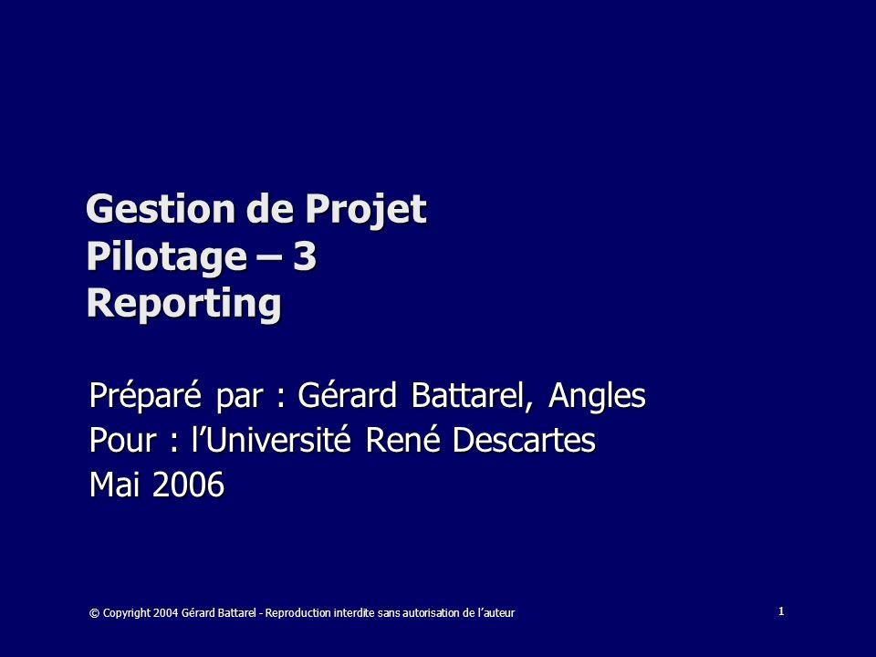 Gestion de Projet Pilotage – 3 Reporting