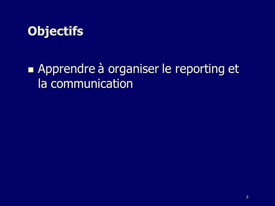 Objectifs Apprendre à organiser le reporting et la communication