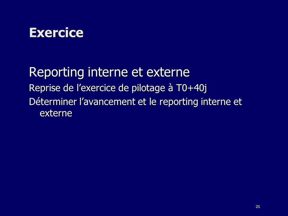 Reporting interne et externe