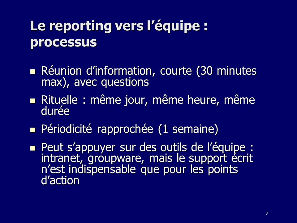 Le reporting vers l'équipe : processus