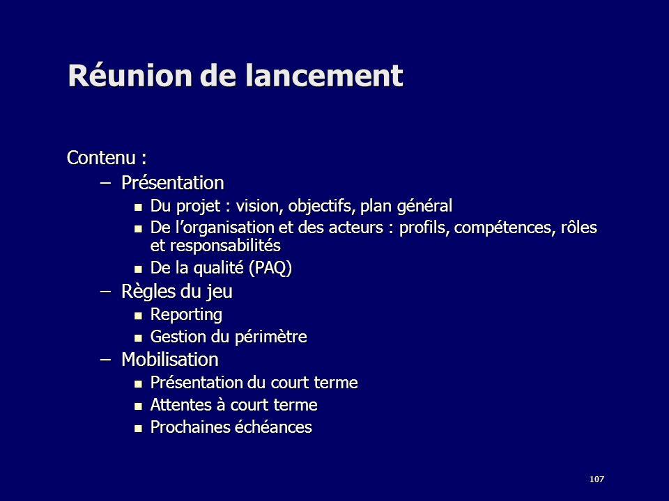 Réunion de lancement Contenu : Présentation Règles du jeu Mobilisation