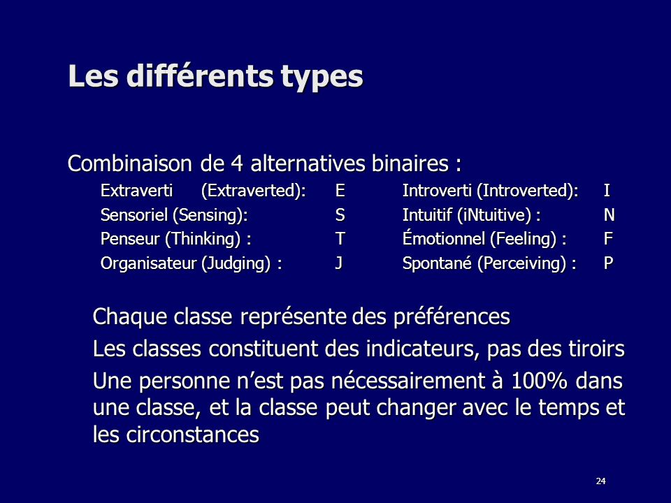 Les différents types Combinaison de 4 alternatives binaires :