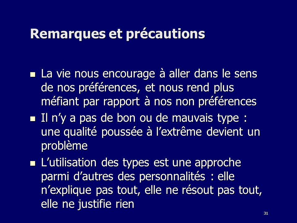 Remarques et précautions