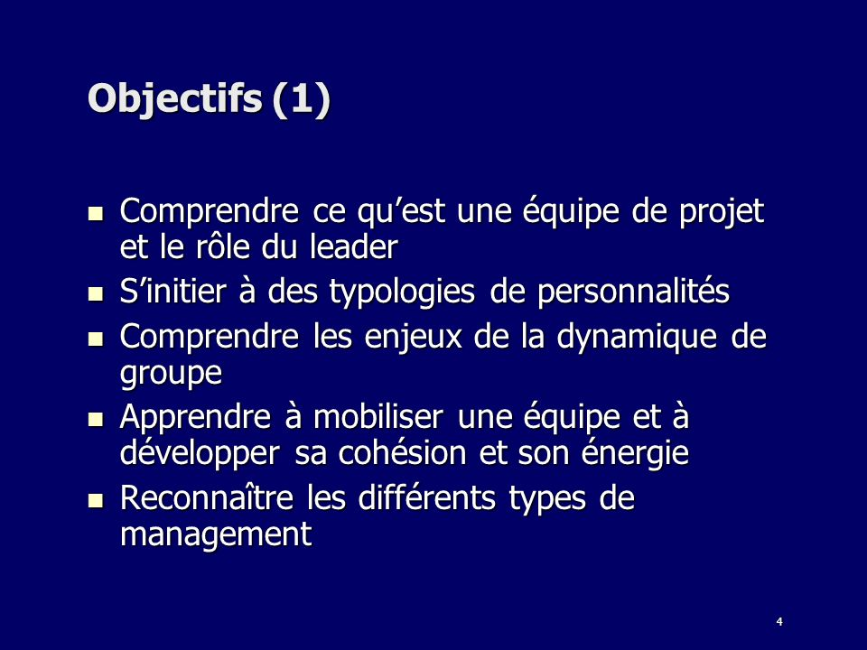 Objectifs (1) Comprendre ce qu'est une équipe de projet et le rôle du leader. S'initier à des typologies de personnalités.