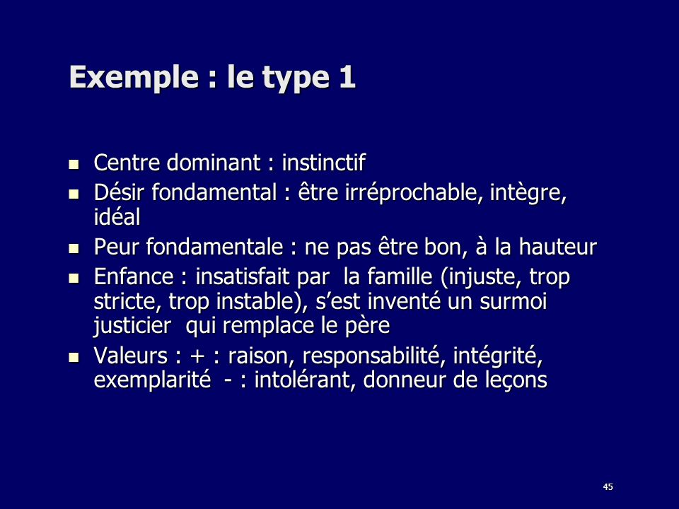 Exemple : le type 1 Centre dominant : instinctif