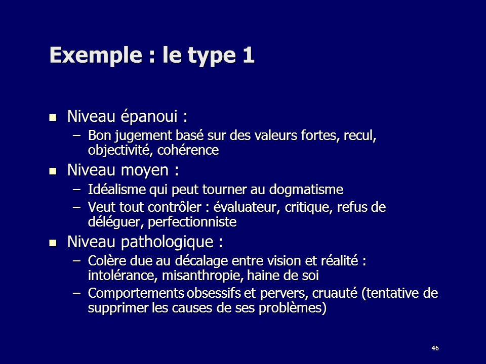 Exemple : le type 1 Niveau épanoui : Niveau moyen :