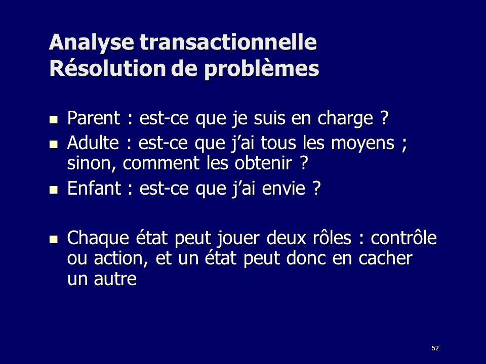 Analyse transactionnelle Résolution de problèmes