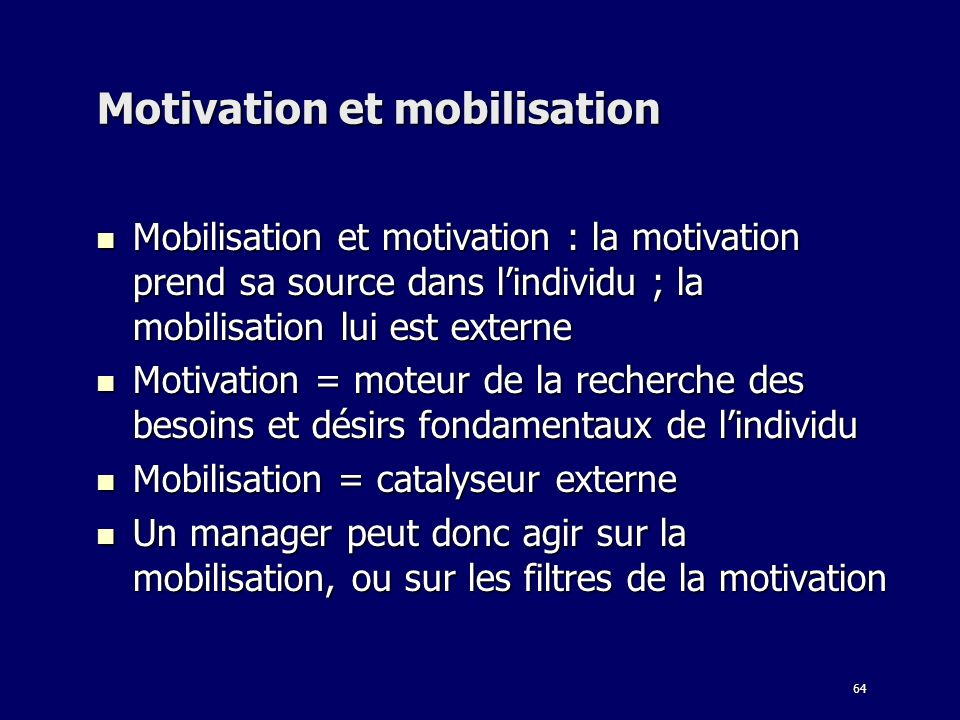 Motivation et mobilisation