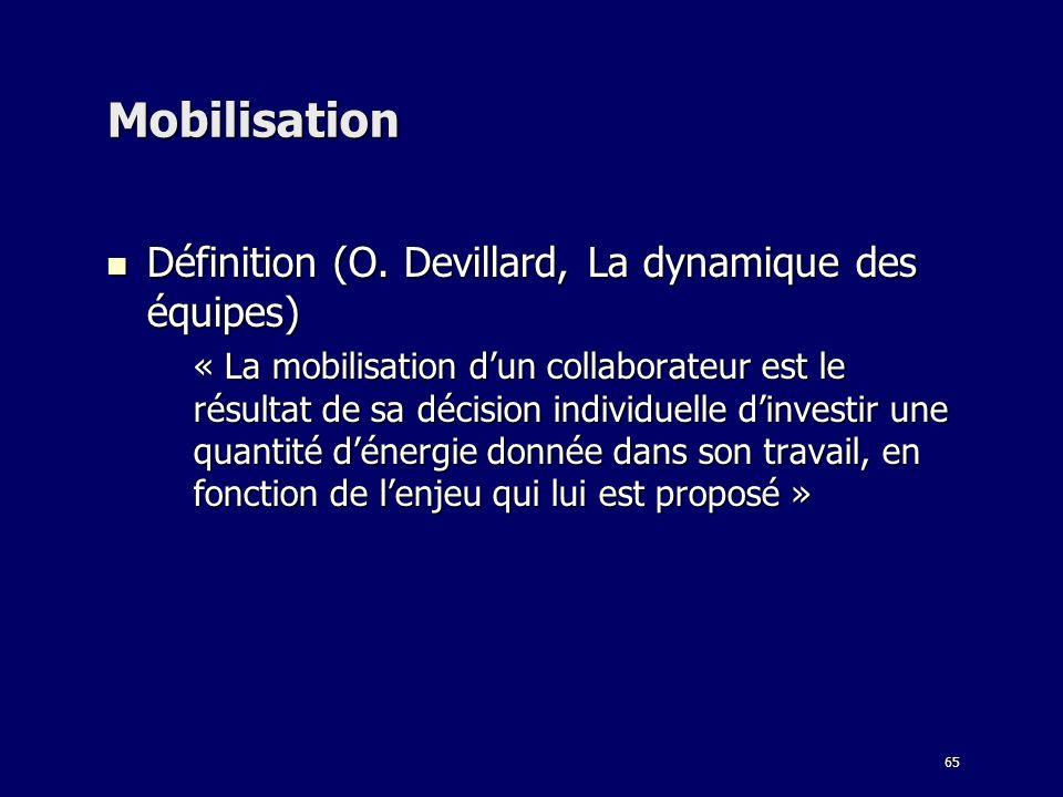 Mobilisation Définition (O. Devillard, La dynamique des équipes)