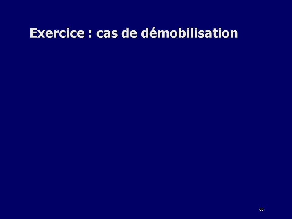 Exercice : cas de démobilisation