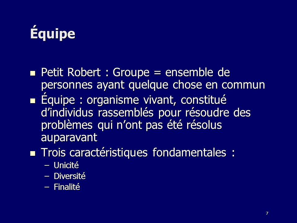 Équipe Petit Robert : Groupe = ensemble de personnes ayant quelque chose en commun.