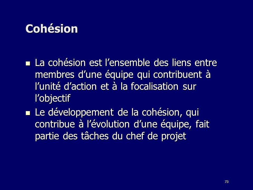 Cohésion La cohésion est l'ensemble des liens entre membres d'une équipe qui contribuent à l'unité d'action et à la focalisation sur l'objectif.