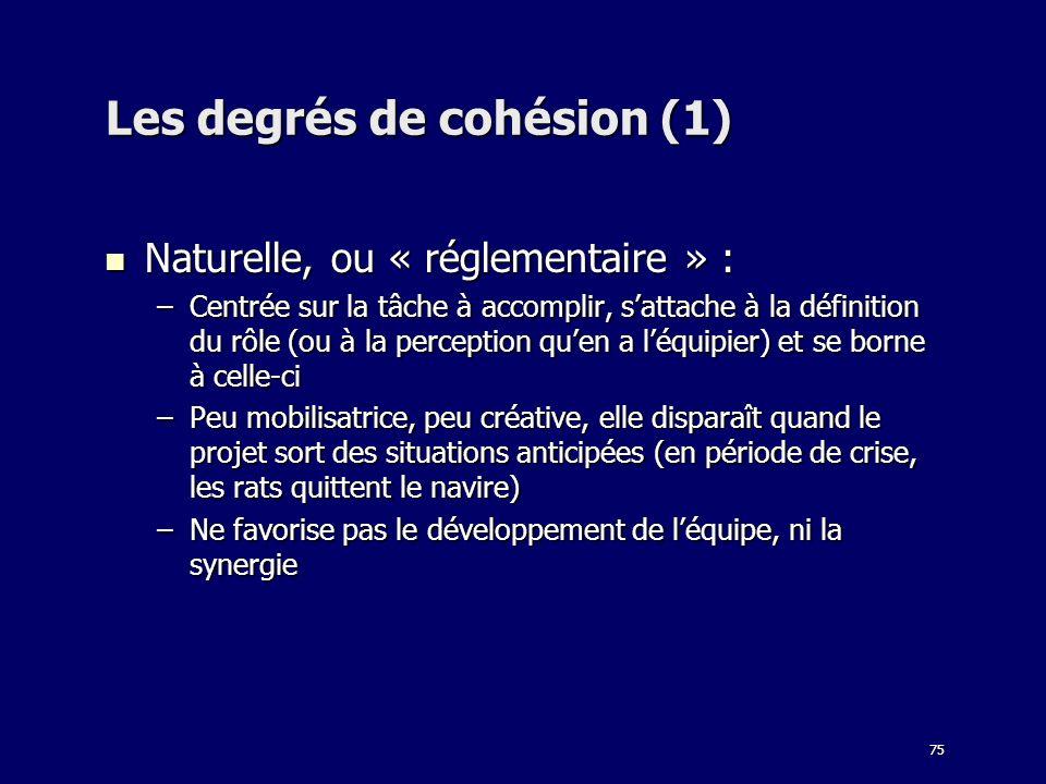 Les degrés de cohésion (1)