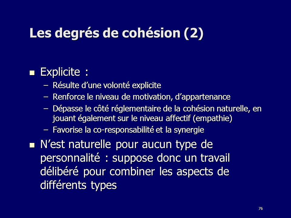 Les degrés de cohésion (2)