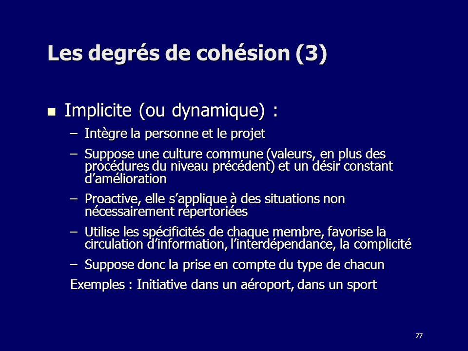 Les degrés de cohésion (3)