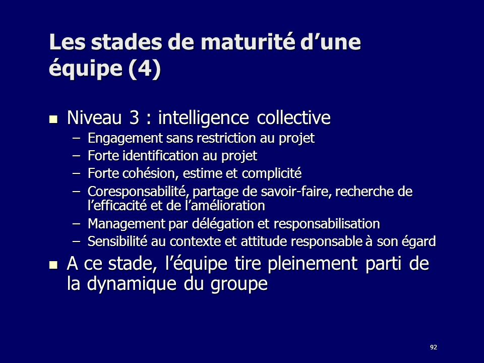 Les stades de maturité d'une équipe (4)