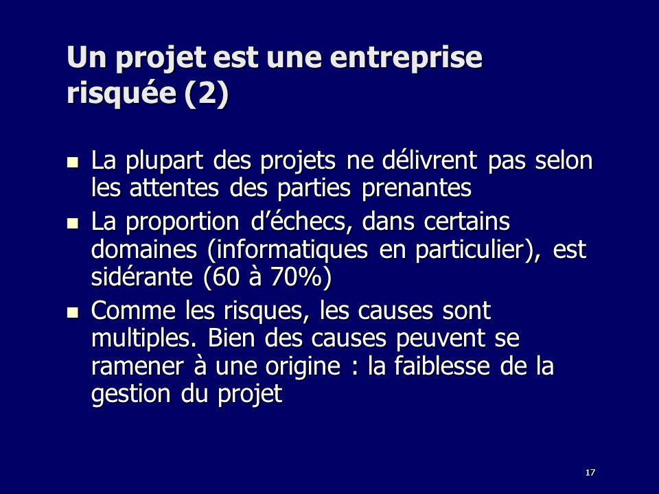 Un projet est une entreprise risquée (2)