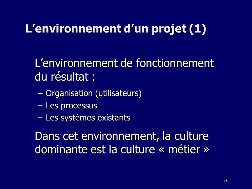 L'environnement d'un projet (1)