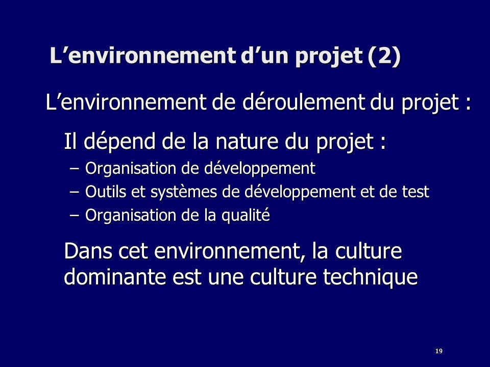 L'environnement d'un projet (2)
