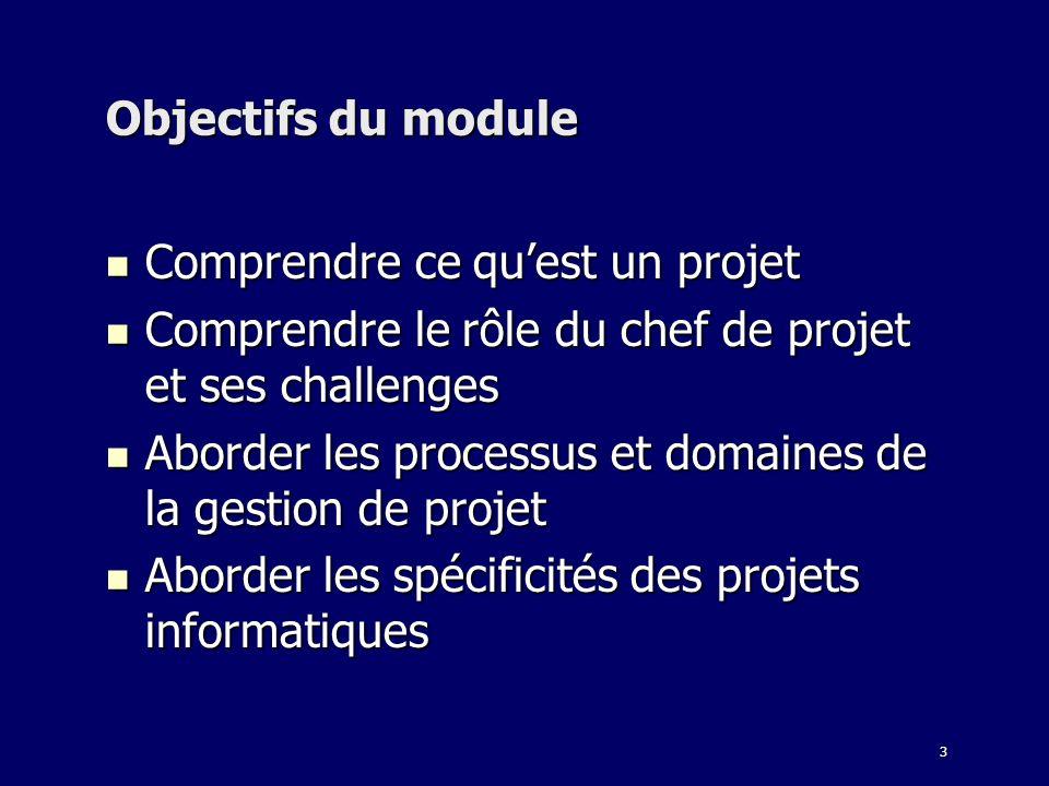 Objectifs du moduleComprendre ce qu'est un projet. Comprendre le rôle du chef de projet et ses challenges.