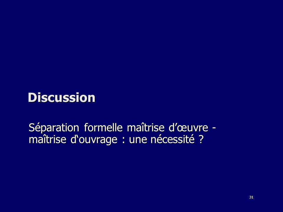 Discussion Séparation formelle maîtrise d'œuvre - maîtrise d'ouvrage : une nécessité