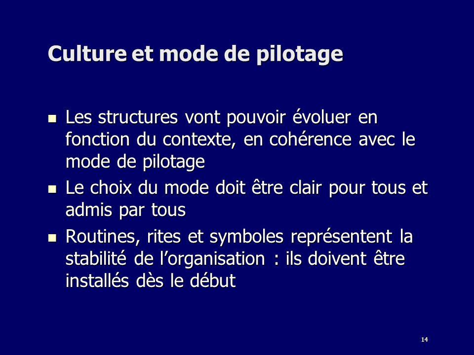 Culture et mode de pilotage