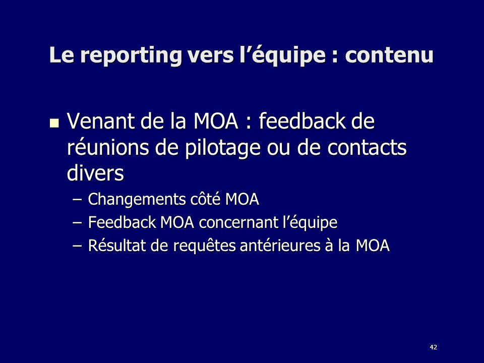 Le reporting vers l'équipe : contenu