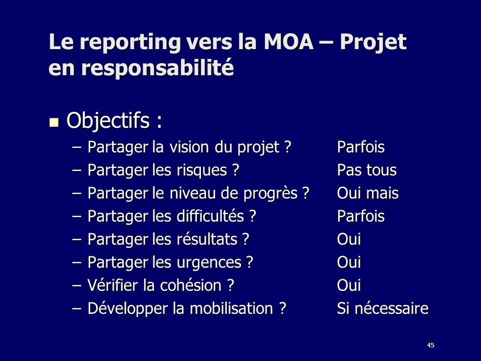 Le reporting vers la MOA – Projet en responsabilité