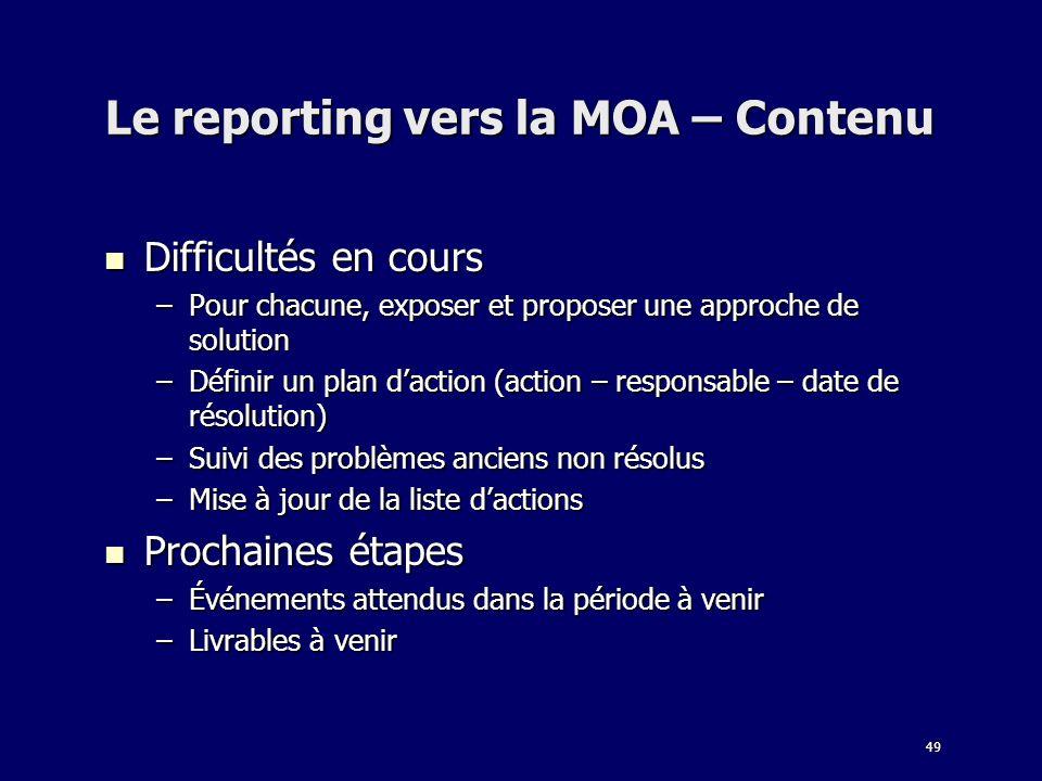 Le reporting vers la MOA – Contenu