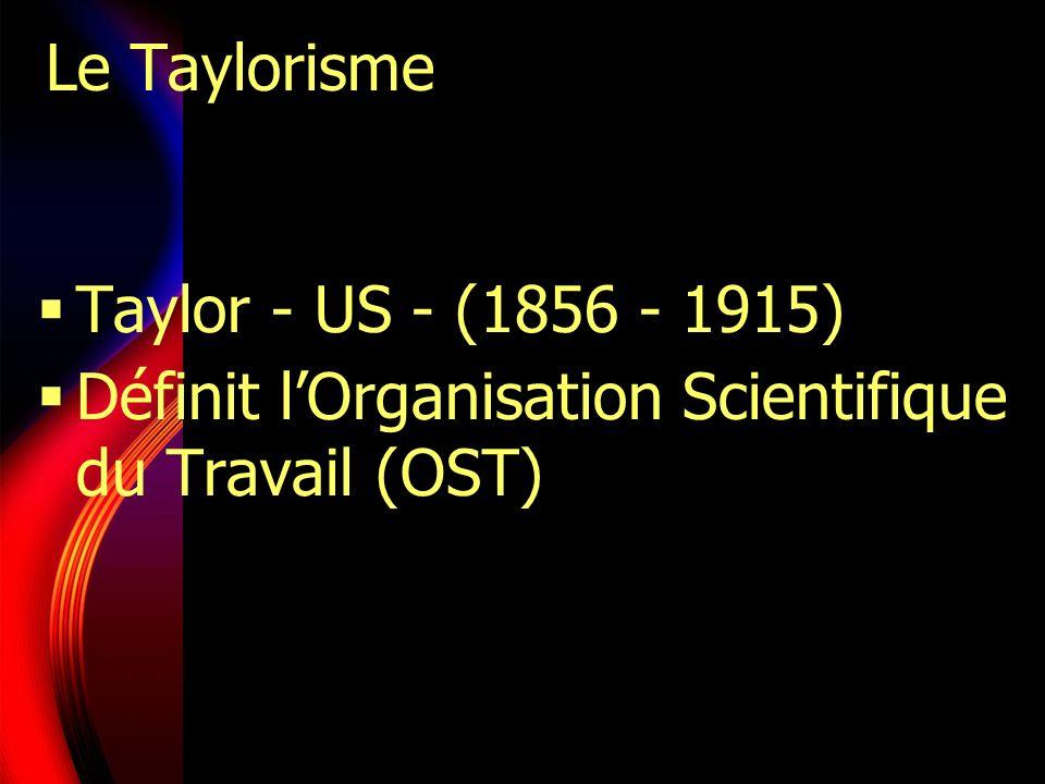 Le Taylorisme Taylor - US - (1856 - 1915) Définit l'Organisation Scientifique du Travail (OST)
